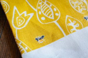 Bumble Bee Linen Tea Towel by Rain Goose