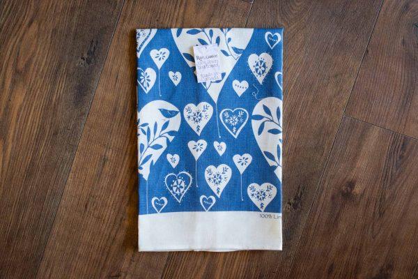 White Hearts Linen Tea Towel by Rain Goose