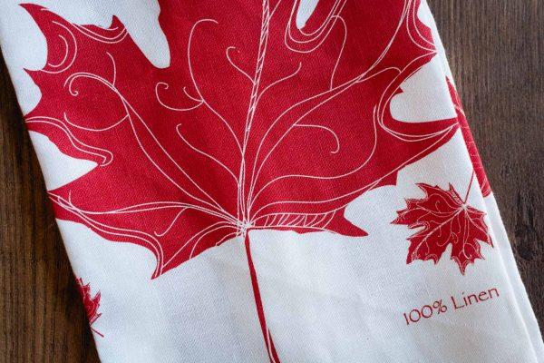 Maple Leaf Linen Tea Towel by Rain Goose