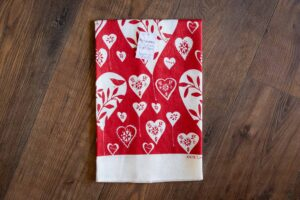 White Hearts Linen Tea Towel by Rain Goose