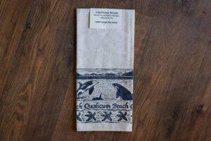 Hand Printed Qualicum Beach Tea Towel by Maritime Blues