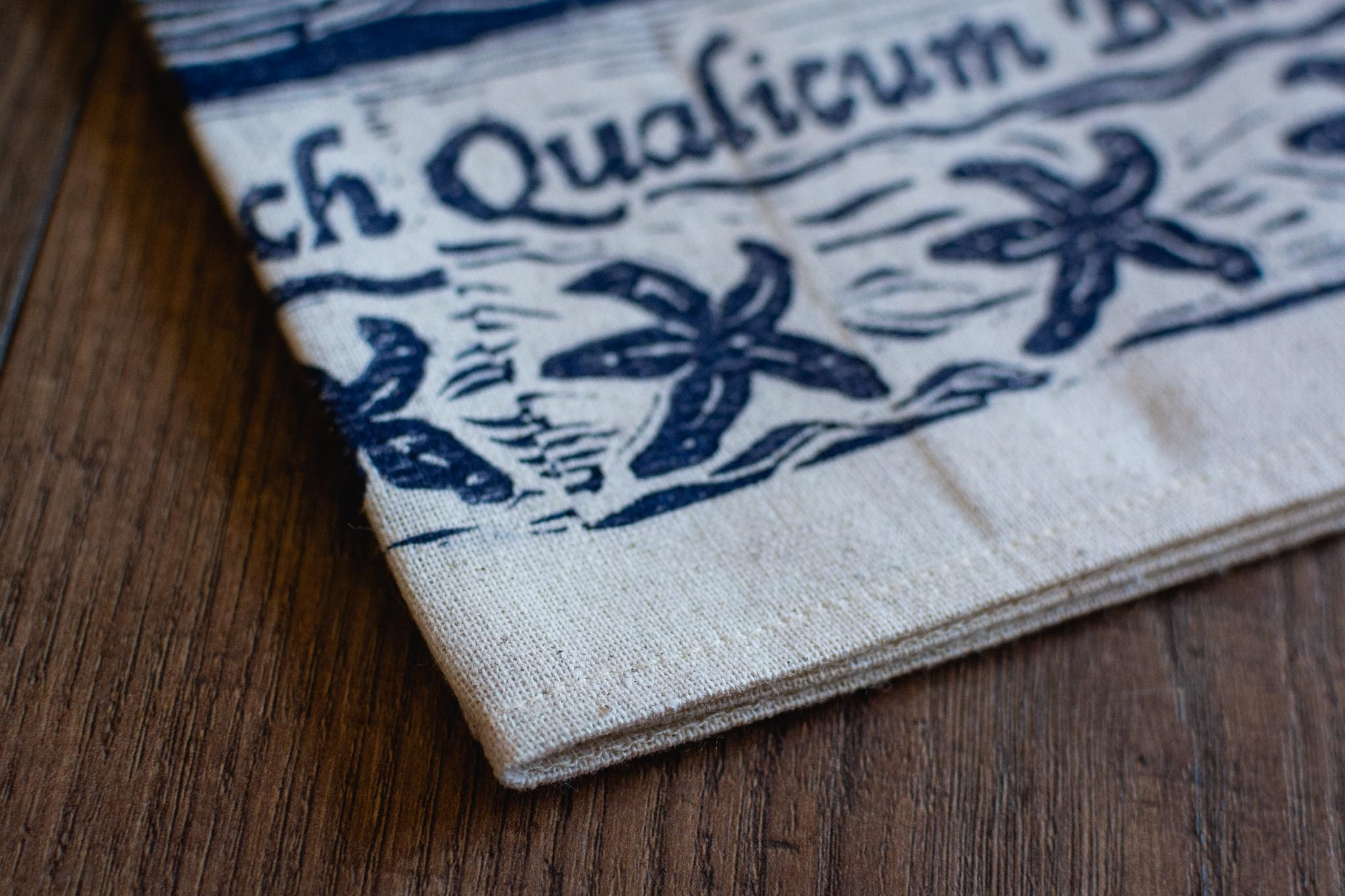 Handprinted Qualicum Beach Tea Towel by Maritime Blues