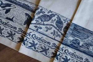 Hand Printed Qualicum Beach Tea Towels by Maritime Blues (3 Pack)