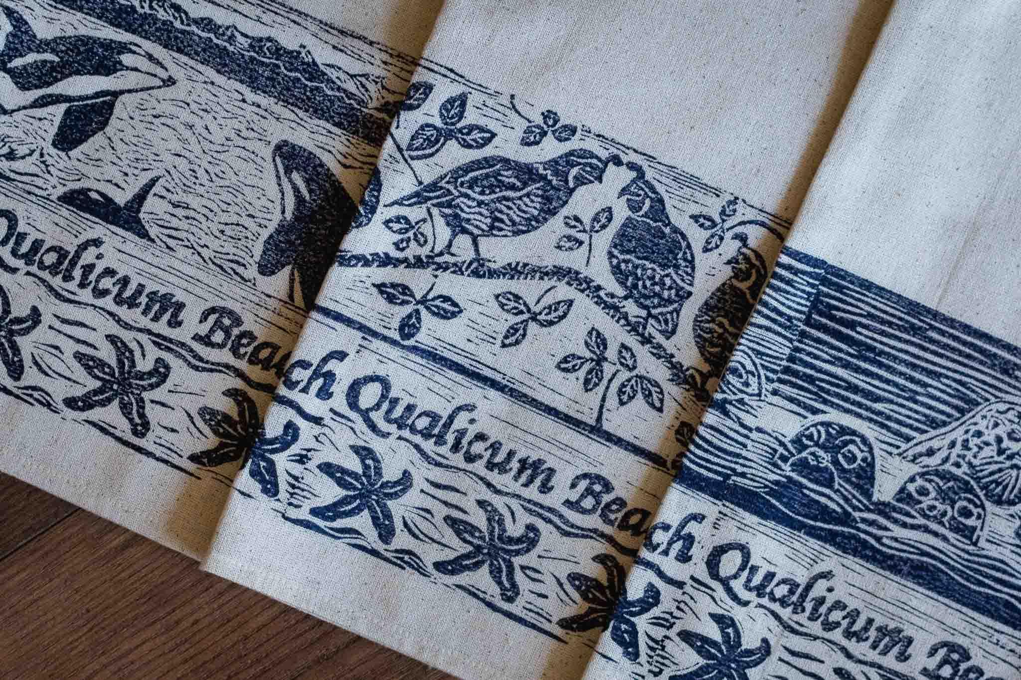 Handprinted Qualicum Beach Tea Towel by Maritime Blues