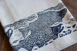 Handprinted Tea Towel by Maritime Blues
